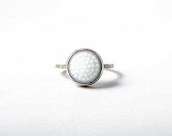 White Tobiko Silver Ring-button ring made to order