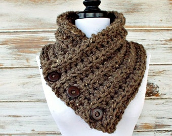 Crochet Cowl - Wellington Cowl in Barley Taupe Tweed - Brown Cowl Brown Scarf Taupe Cowl Taupe Scarf - Womens Accessories