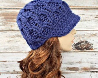 Cobalt Blue Newsboy Hat Chunky Knit Hat Womens Hat - Amsterdam Cable Beanie - Blue Hat Blue Beanie - Womens Accessories - READY TO SHIP