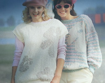 Sweater Knitting Pattern Floral Women English French Beehive Patons 1046 Sizes 30 - 40 Chunky Weight Yarn Paper Original NOT a PDF