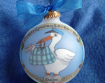 GRANDPARENTS TO BE, Stork Keepsake Personalized Ornament, Handpainted and Personalized