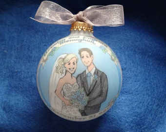 Wedding Couple Ornament Original Handpainted Personalized Ornament with free display stand