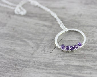 Purple Amethyst Necklace, Sterling Silver Necklace, Wire Wrap Pendant Necklace, Circle Necklace, Light Purple Necklace, February Birthstone