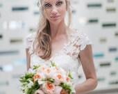Flower Head Birdcage Veil - Venice Lace - White Birdcage Veil - Alternative Bridal Veil - Swarovski Crystal Veil