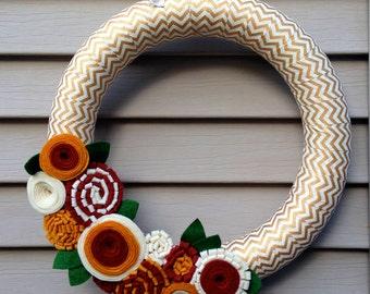 Fall Wreath, New Year's Wreath,  Autumn Wreath, Thanksgiving Wreath, Ribbon Wreath - Gold and Cream Chevron Wrapped Wreath w/ Felt Flowers