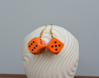 Orange wooden dice earrings with gilded or silver plated earwires