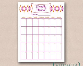 Printable Monthly Calendar - Monthly Planner - Printable Calendar - Blank Calendar - PDF Monthly Organizer - Instant Download