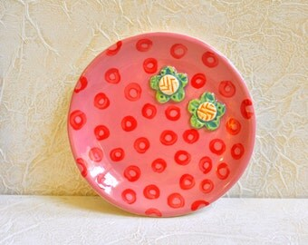 Little Plate- Trinket Dish- Ring Dish- Multipurpose Flower Plate- Salmon with Red Circles and Two Green Flowers