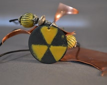 Fallout Shelter Enamel Necklace - Nuclear, Radioactive, Torch Fire Enamel Pendant & Beads