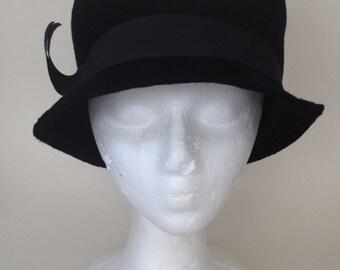 Vintage black ladies top hat