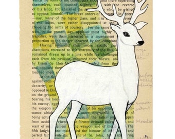 White deer - Print  - mixed media art A4 size