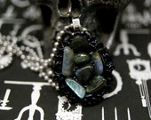 Labradorite Tumbled Pebble Cluster Resin Cameo Necklace