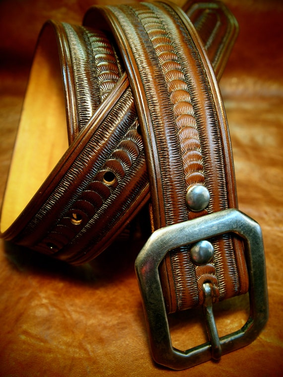 Brown Leather belt stamped and tooled made in Brooklyn NYC USA