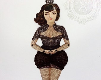 Victorian Tattooed Paper Doll Puppet - Dona Alicia, A Gothic Spanish Widow who is a huge Smiths, Morrissey fan. Unique paper art gift item