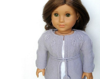 "Penelope - PDF Knitting Pattern For 18"" American Girl Dolls - Round Yoke Cardigan Sweater With Embossed Leaf Details - Instant Download"