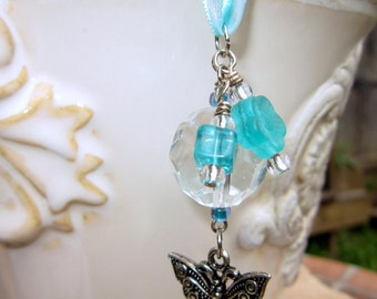 Rearview Mirror Jewelry Charm Car Feng Shui Butterfly Turquoise Aqua Blue