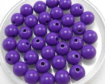 100 Purple Acrylic Beads 8MM round (H2386)