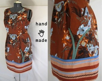 SALE - EarthFlower Dress -- plus size 14 / 16 xl -- sheath, appliqué,  pocket -- handmade in vintage 1970s cotton -- 44B-36W-46H