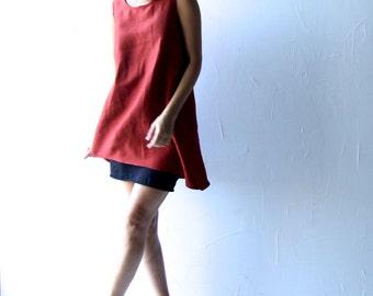 Linen tunic, Red dress, Shift dress, Tunic dress, Asymmetrical tunic, Short dress, Summer dress, Women clothing, Petite dress, Aline dress