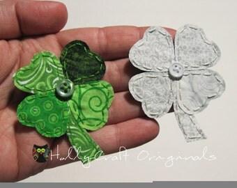 Four Leaf Clover Applique, Fabric Shamrock, St. Patrick's Day, Shamrock Applique, 4 Leaf Clover Embellishment, Shamrock Embellishment, Patch