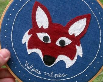 Fox Hoop Art. Hoop Art. Embroidery. Fox.  Red Fox Art. Children's Art. Kids Room.Wall Art. Vulpes vulpes, Ready to ship.