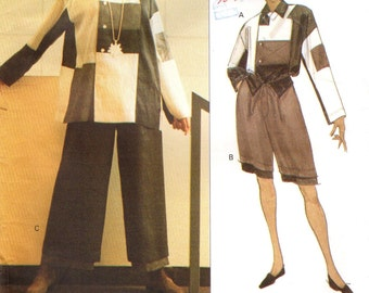 Vogue 1179 ISSEY MIYAKE Color Blocked Top, Shorts and Pants Ensemble 1993
