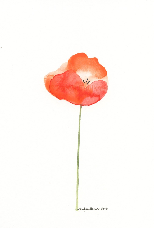 Orange Poppy Watercolor Art Print Papaver