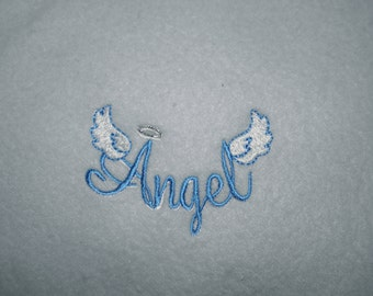 Angel Blanket Lightweight Embroidered Fleece Blankie for Baby or Pet WINGS and HALO