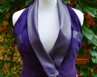 Deep Purple Violet  Suede Leather Sexy Vest Recycled Upcycled Small Medium