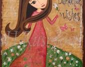 Children Decor ,Mixed Media Art, Girls Wall Art, Whimsical Folk Art Girl Print -8 x 10