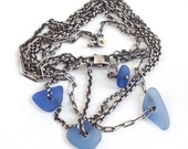 Sterling Silver Seaglass Necklace Coneflower Blue Beach Glass Triple Chains - Almost Spring