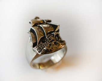 Nautical Ship Ring in Sterling Silver