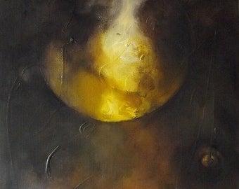 "Painting, ""Minotaur Dreams"" series, golden, dark brown,  16 x 12"