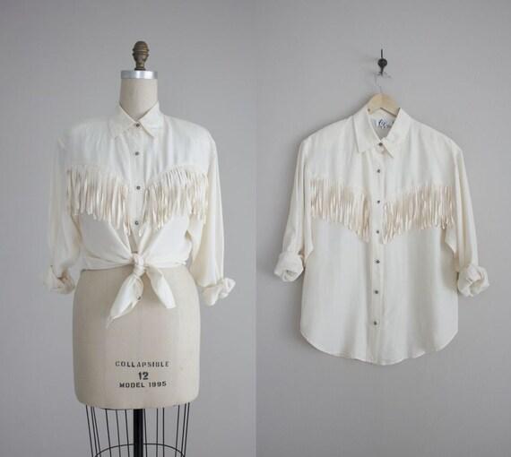cream silk shirt / fringe blouse / oversized silk shirt