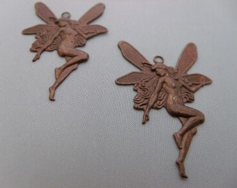 Victorian angel Fairy Vintage brown jewelry finding set of 4 Clearance