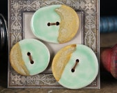 Handmade stoneware ceramic buttons Pale Green and Tan (3)