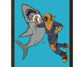 "Shark, Diver, Jaws, Underwater, Tin Tin, Shark Week, Digital Print, Art Poster 18"" x 24"""