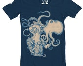 Mens Deep Sea Discovery Tee, Men's T-Shirt, Octopus, Diver Tee, Shirt, Tees, Awesome, Cool Graphic T Shirts, Gift for guys, Sizes S-2XL