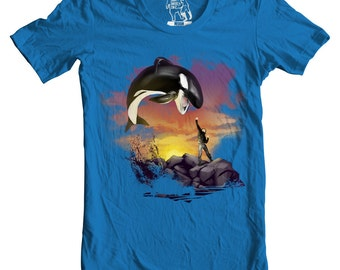 Willy the Killer, Killer Whale, Orca, Free Willy, Sunset S, M, L, XL, 2XL Available