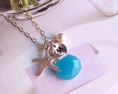 Ocean Themed Necklace - Turquoise Quartz, Swarovski Pearl, Starfish Charm and Stamped Disc, Personalized Jewelry