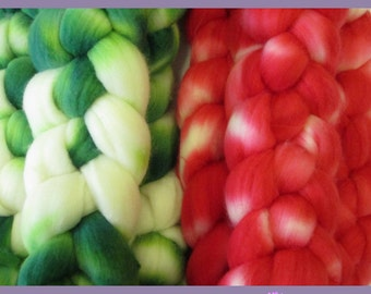 100% Merino Top Roving for Hand Spinners, Candy Cane, Green & Red Christmas Stripes