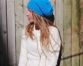Blue hat,  blue beanie hat, sky blue chunky hand knit HAT