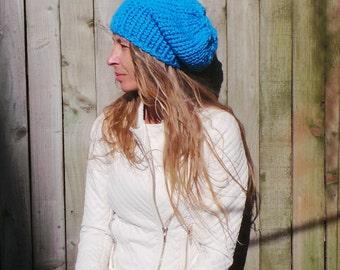 Blue hat,  blue beanie hat, sky blue chunky hand knit HAT