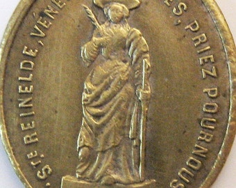 Antique Large French St Reinelde Miraculous Virgin 1800s Religious Medal Pendant Charm