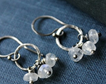 White Moonstone and Sterling Silver Circle Dangle Earrings - Trey