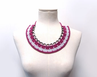Crochet Cotton and Chain Necklace Choker - Color Block Statement Necklace - Gunmetal chain with plum purple / burgundy and grey cotton