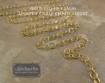 Thin Gold Chain, 14k Gold Filled Smooth Cable Chain, 10 Feet of 1.2mm Small Gold Jewelry Chain for Necklaces (1020f)