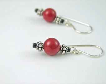 Red Dangle Earrings Red Mountain Jade and Sterling SIlver
