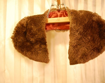 one 1 brown synthetic fur collar vintage from coat for sewing fashion project runway supplies