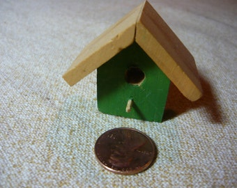 Miniature Wood Bird House  Green Hand Painted 1/12 scale